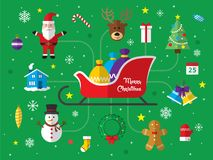 Merry Christmas Icon Set Background. Royalty Free Stock Photography