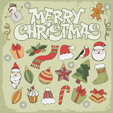 Merry Christmas icon. Set in doodle style Royalty Free Stock Photos