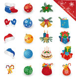 Merry Christmas icon set. Merry Christmas icons collection - gift boxes, balls, santa hat, bells, misrletoe, candles, mitten, cake. Vector illustration Stock Photo