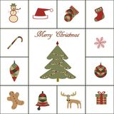Merry christmas icon set Royalty Free Stock Photo