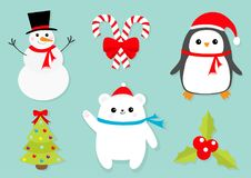 Merry Christmas icon set. Snowman Candy Cane stick red bow.. Penguin bird, white polar bear cub wearing Santa Claus hat, scarf. Holly berry Mistletoe. Flat Royalty Free Stock Image