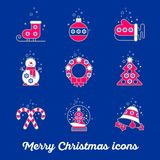 Merry Christmas icon set. Snowman skates mittens wreath boll bell snowball sweets tree on a blue background. New Year icon Vector Illustration