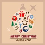 Merry Christmas Icons Royalty Free Stock Images