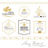 Merry Christmas icons, borders isolated on white in gold and black Stock Photography