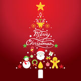 Merry Christmas, Icons in Christmas Tree Shape royalty free illustration
