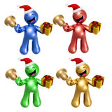 Merry christmas icons with santa hat and gift Royalty Free Stock Photo