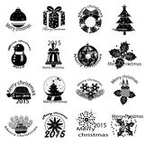 Merry christmas icons set. In black Royalty Free Stock Photos