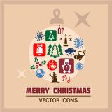 Merry christmas icons set Stock Photos