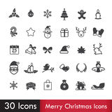 Merry christmas icons set isoleted on white background Royalty Free Stock Images