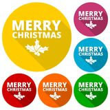 Merry Christmas icons set with long shadow Stock Photos