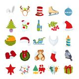 Merry Christmas icons set. Headgear, clothing, footwear, accessories, decorative items. Merry Christmas icons set. Santa Claus hat, beard, Christmas tree Royalty Free Stock Photography