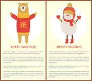 Merry Christmas Icons and Text Vector Illustration. Merry Christmas, icons and text, bear wearing sweater with snowflake image and snowman dressed in scarf and Stock Photos