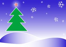 Merry Christmas illustration. Merry Christmas and New Year illustration. Fir-tree, ster and snowflakes drawing in the blue cold sky Stock Image