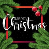 Merry Christmas Illustration on Black Background with Typography Royalty Free Stock Photos