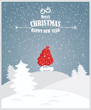 Merry Christmas illustration. Christmas landscape card design of retro red car with gift on the top. Stock Images