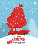 Merry Christmas illustration. Christmas landscape card design of retro red car with gift on the top. Royalty Free Stock Image