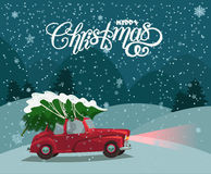 Merry Christmas illustration. Christmas landscape card design of retro red car with tree on the top. Stock Photos