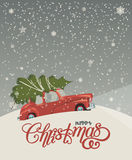 Merry Christmas illustration. Christmas landscape card design of retro red car with tree on the top. Stock Images