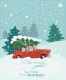 Merry Christmas illustration. Christmas landscape card design of retro red car with tree on the top. Stock Photography