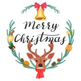 Merry Christmas. Illustration with a deer and a wreath stock illustration