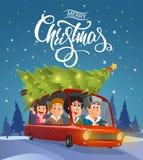 Merry Christmas illustration, family holidays on car Stock Photos