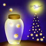 Merry Christmas. Illustration of fireflies at Christmas Royalty Free Stock Photos