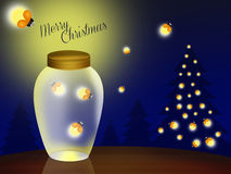 Merry Christmas. Illustration of fireflies at Christmas Royalty Free Stock Images