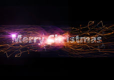 Merry Christmas. Illustration of merry christmas in flames Stock Photo