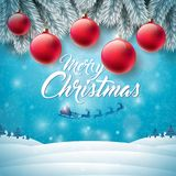 Merry Christmas illustration with flying Santa, typography  Royalty Free Stock Images