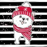 Merry Christmas 2018 illustration with funny dog. Hand drawn vec. Tor Pomeranian Spitz puppy. Happy New Year collection. Winter design. Happy holidays card Royalty Free Stock Images