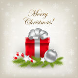 Merry Christmas Illustration With Gift. Vector Royalty Free Stock Image