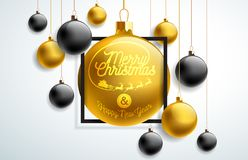 Merry Christmas Illustration with Gold and Black Glass Ball and Typography Elements on White Background. Vector Holiday royalty free illustration