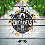 Merry Christmas Illustration with Gold Glass Ball, Pine Branch and Typography Elements on Vintage Wood Background vector illustration