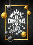 Merry Christmas Illustration with Gold Glass Ball, Star and Typography Elements on Black Background. Vector Holiday. Design for Greeting Card, Party Invitation vector illustration
