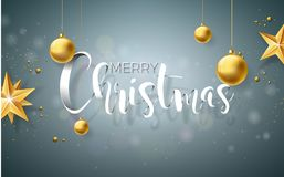 Merry Christmas Illustration on Grey Background with Typography and Holiday Elements, Vector design. Royalty Free Stock Photography