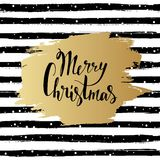 Merry Christmas  illustration. Hand drawn lettering. Golden brush stroke on striped background. Greeting card. Merry Christmas  illustration. Hand drawn Royalty Free Stock Photos