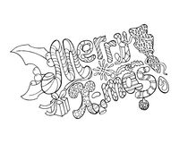 Merry Christmas  illustration - hand-drawn lettering. Merry Christmas coloring page. Christmas holiday greeting card design element. Outlined letters, holly Stock Photography