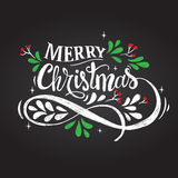Merry Christmas illustration. Merry Christmas hand drawn lettering vector illustration Royalty Free Stock Photos