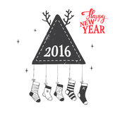 Merry Christmas illustration. Hipster New Year and Merry Christmas illustration. Vector illustration Stock Images