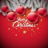 Merry Christmas Illustration with Ornamental Ball, Typography Letter, Gold Cutout Paper Star and Silver Pine Branch on Stock Photos