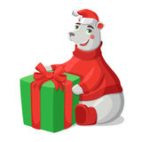 Merry Christmas illustration. With polar bear and gift Stock Photo