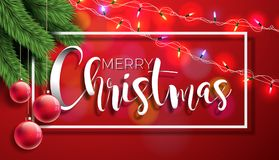 Merry Christmas Illustration on Red Background with Typography  Stock Images