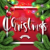 Merry Christmas Illustration on Red Background with Typography  Stock Photography