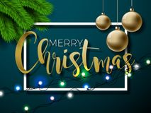 Merry Christmas Illustration on Red Background with Typography  Stock Image