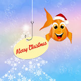 Merry Christmas. Illustration of red fish with Christmas hat Stock Photos