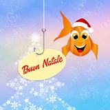 Merry Christmas. Illustration of red fish with Christmas hat Royalty Free Stock Images
