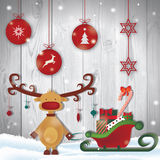 Merry christmas. Illustration with reindeer Royalty Free Stock Photo