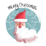 Merry christmas illustration of santa claus face Stock Photos