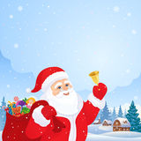 Merry Christmas. Illustration with Santa Claus ringing the bell, and a village landscape on the background Royalty Free Stock Images