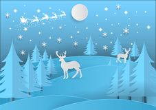 Merry Christmas. Illustration of Santa Claus on the sky with snowflake, deer and tree, paper art and craft style Royalty Free Stock Photography